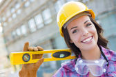 Young Attractive Female Construction Worker Wearing Hard Hat and — Stock Photo