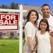 Hispanic Family in Front of Their New Home and Sign — Foto Stock