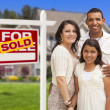 Hispanic Family in Front of Their New Home and Sign — Foto de Stock