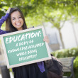 Mixed Race Female Student Holding Chalkboard With Education and — Foto Stock