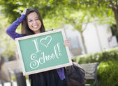 Mixed Race Female Student Holding Chalkboard With I Love School — Stock Photo