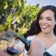 Young Woman Enjoying Glass of Wine in Vineyard With Friends — Stock Photo