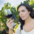 Young Adult Woman Enjoying A Glass of Wine in Vineyard — Stock Photo