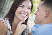 Mixed Race Romantic Couple Portrait in the Park — Stock Photo