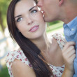 Mixed Race Romantic Couple Portrait in the Park — Stock Photo #30681793