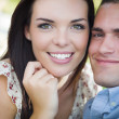 Stock Photo: Mixed Race Romantic Couple Portrait in Park