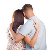 Military Couple From Behind Hugging Looking Away on White — Stock Photo
