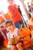 Cute Girl Riding Wagon with Her Pumpkin and Sister — Stock Photo