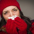 Sick Mixed Race Woman Blowing Her Sore Nose With Tissue — Stock Photo