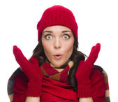Stunned Mixed Race Woman Wearing Winter Hat and Gloves — Stock Photo