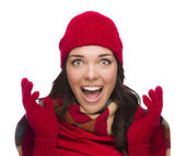 Ecstatic Mixed Race Woman Wearing Winter Hat and Gloves — Stok fotoğraf