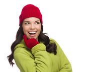 Mixed Race Woman Wearing Hat and Gloves Looking to Side — Stock Photo