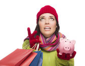 Stressed Mixed Race Woman Holding Shopping Bags and Piggybank — Stock Photo