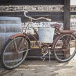 Old Rusty Antique Bicycle and Wine Barre — Stock Photo