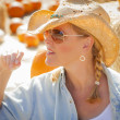 Beautiful Blond Female Rancher Wearing Cowboy Hat in Pumpkin Pat — Stock Photo
