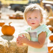 Adorable Baby Girl Holding a Pumpkin at the Pumpkin Patc — Stock Photo #33544039