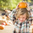 Little Boy Holding His Pumpkin at a Pumpkin Patc — Stock Photo