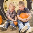 Two Boys Holding Pumpkins Talking and Sitting Against Tractor Ti — Stock Photo #33670621