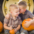Two Boys Sitting Against Tractor Tire Holding Pumpkins Whisperin — Stock Photo #33670635