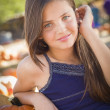 Preteen Girl Portrait at the Pumpkin Patch — Stock Photo