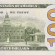 Back Right Half of the New One Hundred Dollar Bill — Photo