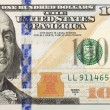 Right Half of the New One Hundred Dollar Bill — Stock Photo