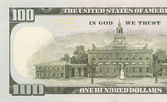 Back Left Half of the New One Hundred Dollar Bill — Stock Photo