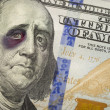 Stock Photo: Black Eyed Ben Franklin on New One Hundred Dollar Bill