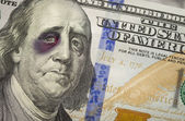 Black Eyed Ben Franklin on New One Hundred Dollar Bill — Stock Photo