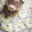 Stock Photo: Piggy Bank on Newly Designed One Hundred Dollar Bills