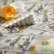 Medicine Pills Stacked on Newly Designed One Hundred Dollar Bill — Stock Photo