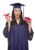 Female Graduate with Diploma and Stack of Gift Wrapped Hundreds — Stock Photo