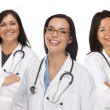 Three Hispanic and Mixed Race Female Doctors or Nurses — Stock Photo