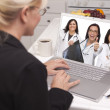 Woman Using Laptop Viewing Three Doctors with Thumbs Up — Stock Photo