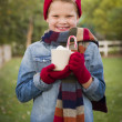 Young Boy in Warm Clothing Holding Hot Cocoa Mug Outside — Stock Photo