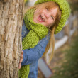 Portrait of Cute Young Girl Wearing Green Scarf and Hat — Stok fotoğraf