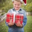 Young Boy Wearing Santa Hat Holding Christmas Gift Outside — Stock Photo
