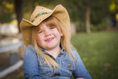 Cute Young Girl Wearing Cowboy Hat Posing for Portrait Outside — Stock Photo
