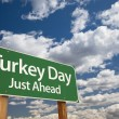 Stock Photo: Turkey Day Green Road Sign and Clouds