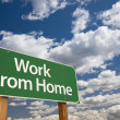 Work From Home Green Road Sign and Clouds — Стоковая фотография