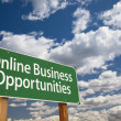 Online Business Opportunities Green Road Sign and Clouds — Stock Photo