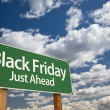 Stock Photo: Black Friday Just Ahead Green Road Sign and Clouds