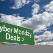 Cyber Monday Deals Green Road Sign and Clouds — Stock Photo #35984505