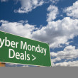 Cyber Monday Deals Green Road Sign and Clouds — Stock Photo