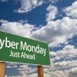 Cyber Monday Just Ahead Green Road Sign and Clouds — Stock Photo