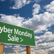 Cyber Monday Sale Green Road Sign and Clouds — Stock Photo