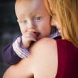 Cute Red Head Infant Boy Portrait with His Mother — Stock Photo #36052045