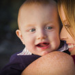 Cute Red Head Infant Boy Portrait with His Mother — Stock Photo #36052079