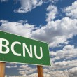 BCNU Green Road Sign Over Sky — Stock Photo