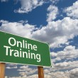 Stock Photo: Online Training Green Road Sign Over Sky